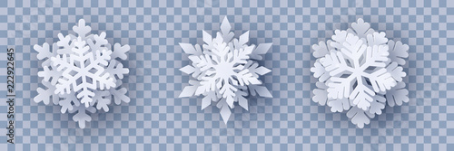 Vector set of 3 white Christmas paper cut 3d layered snowflakes with shadow on transparency background. New year and Christmas design elements