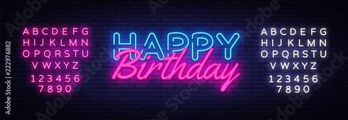 Canvas Print Happy Birthday neon sign vector