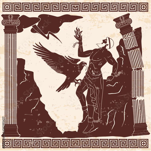 Fototapeta Ancient Greek god Prometheus with a fire in his hand on a beige background with the effect of aging