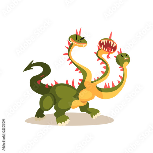Obraz na plátně Three headed dragon ancient mythical creature cartoon vector Illustration on a w