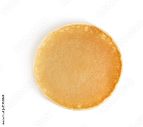 Fresh tasty pancake on white background, top view