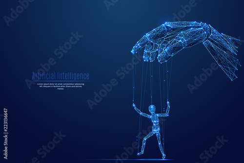 Fotografie, Obraz Robotic cyborg hand manipulating human puppet on dark background
