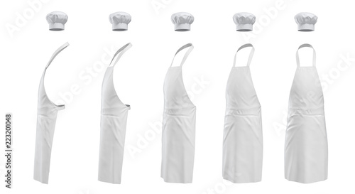 Fotografia 3d rendering of a set of white chief's apron a hat shown in five different angles from the viewer