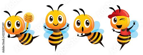 Obraz na plátně Cartoon cute bee mascot set