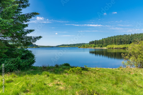 Canvas Print View over the Alwen Reservoir, Conwy, Wales, UK