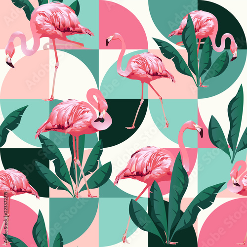 Exotic beach trendy seamless pattern, patchwork illustrated floral vector tropical banana leaves. Jungle pink flamingos.