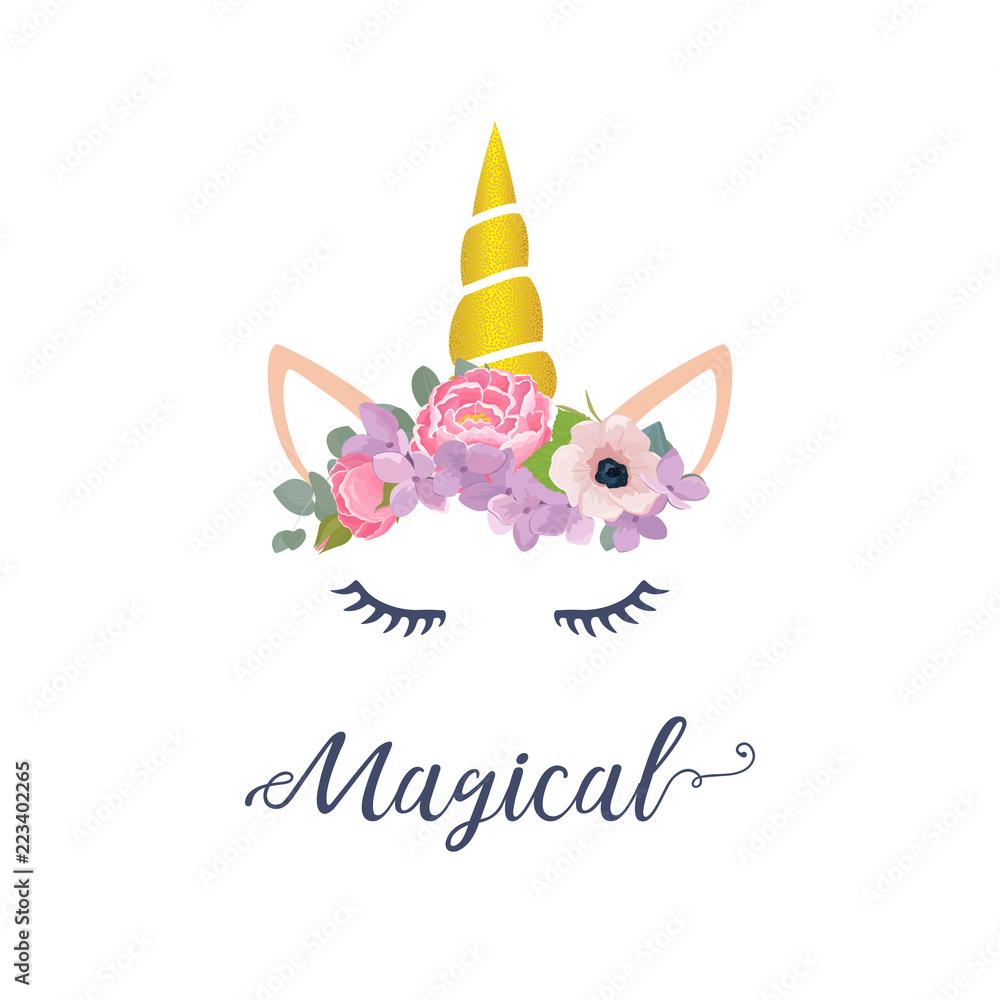 Wektor ładny projekt graficzny jednorożca. Kreskówka jednorożec głowa z ilustracja kwiat korony i napis Magiczny <span>plik: #223402265   autor: Wink Images</span>