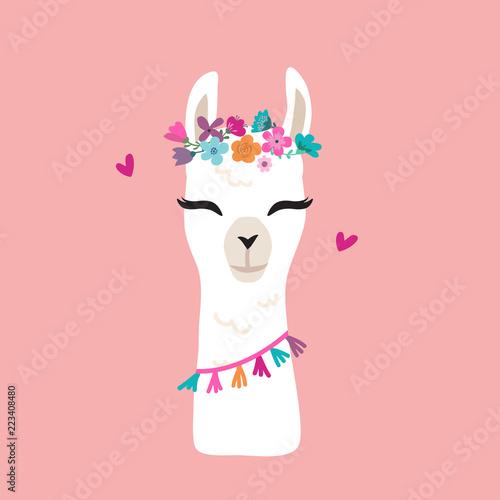 Canvas Print Cute cartoon llama alpaca vector graphic design