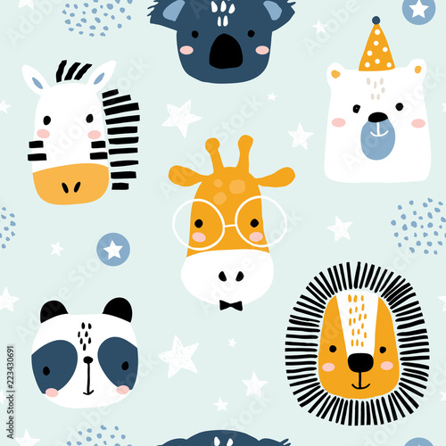 Canvas Print Seamless childish pattern with funny animals faces