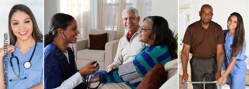 Obraz na plátně Senior Home Health Care Nurse