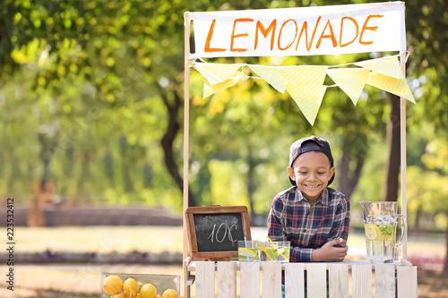 Fotografie, Tablou Little African-American boy at lemonade stand in park