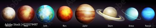 Fototapeta premium Ilustracja wektorowa planet Układu Słonecznego