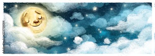 Canvas Print cielo nocturno con luna
