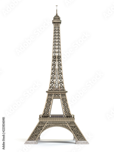 Obraz na plátne Eiffel Tower metallic isolated on a white background