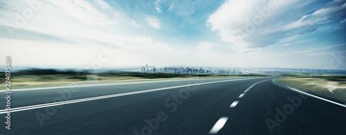 Tablou Canvas empty highway through modern city