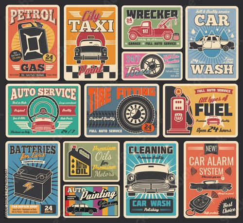 Car service and auto repair garage retro cards