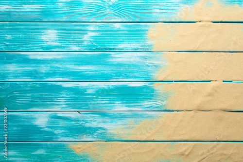 Sea sand on blue wooden floor,Top view with copy space Fototapeta