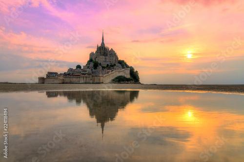 Fotografie, Obraz Beautiful view of historic landmark Le Mont Saint-Michel in Normandy, France, a