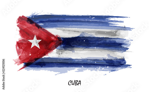 Photo Realistic watercolor painting flag of Cuba . Vector