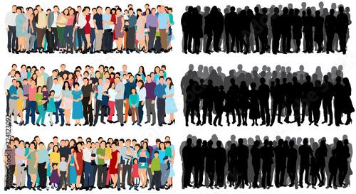 Billede på lærred set of a crowd of people flat style, silhouette of a crowd