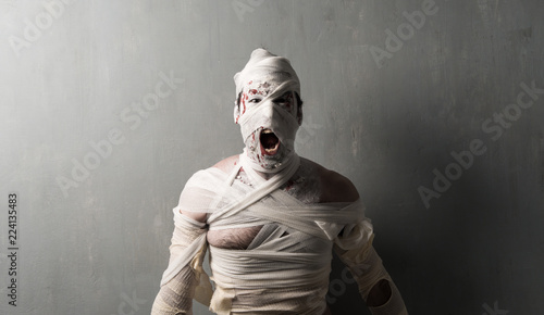 Foto Terrorific mummy screaming on textured wall background