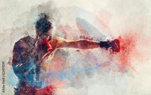 Wallpaper Mural Watercolor painting of boxer striking a blow