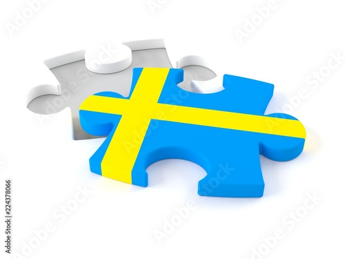 Wallpaper Mural Jigsaw puzzle with swedish flag