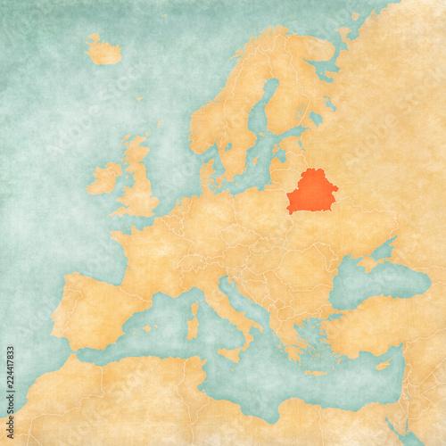 Canvas Print Map of Europe - Belarus