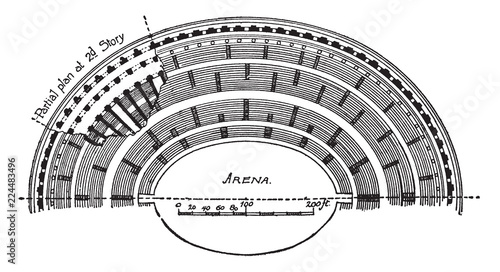 Fényképezés Colosseum, Half Plan, vintage engraving.