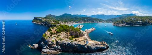 Fotografija Luftaufnahme, Bucht, Naturhafen, Port de Sóller, Serra de Tramuntana, Mallorca,