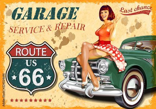 Fotografía Vintage garage retro poster