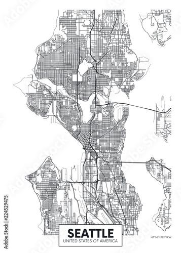 Wallpaper Mural City map Seattle, travel vector poster design