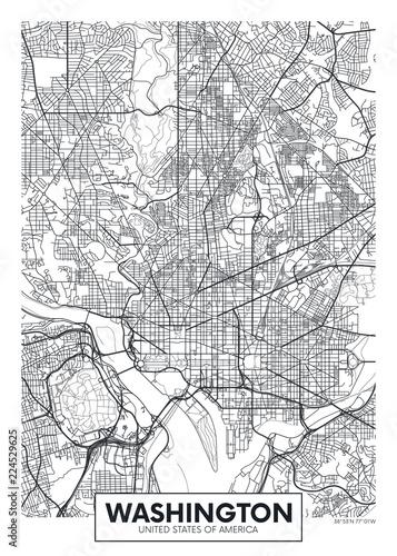 Fotografie, Obraz City map Washington, travel vector poster design