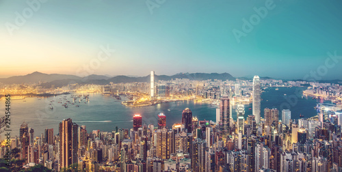 Fototapeta premium Hong Kong Cityscape w tonie vintage