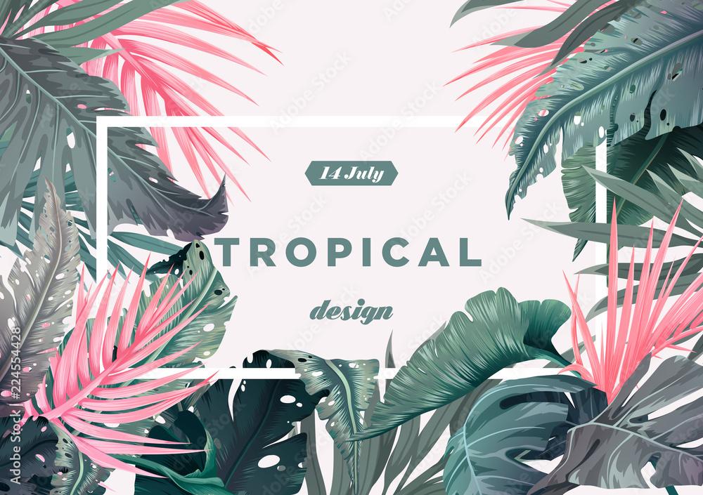 Jasne tło tropikalne z roślin dżungli. Egzotyczny wzór z liści palmowych. Ilustracji wektorowych <span>plik: #224554428 | autor: stonepic</span>