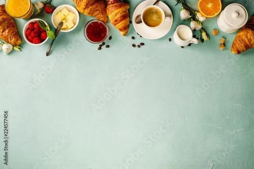 Continental breakfast captured from above Fototapeta