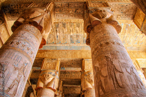 Beautiful interior of the temple of Dendera or the Temple of Hathor. Colorful zodiac on the ceiling of the ancient Egyptian temple. Egypt, Dendera, near the city of Ken