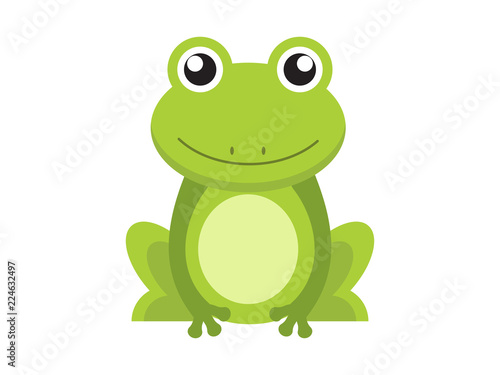 Tablou Canvas Green frog cartoon character isolated on white background
