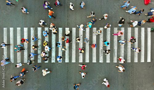 Fotografija Pedestrian crossing top view. Crosswalk aerial from drone.