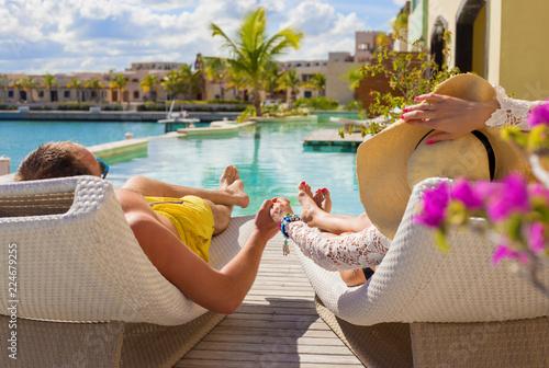 Fototapeta Couple on vacation in luxury resort