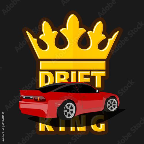 Canvas Print Drift car logo, drift king emblem, label, poster or design print.