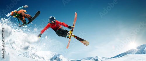 Canvas Print Skiing. Snowboarding. Extreme winter sports