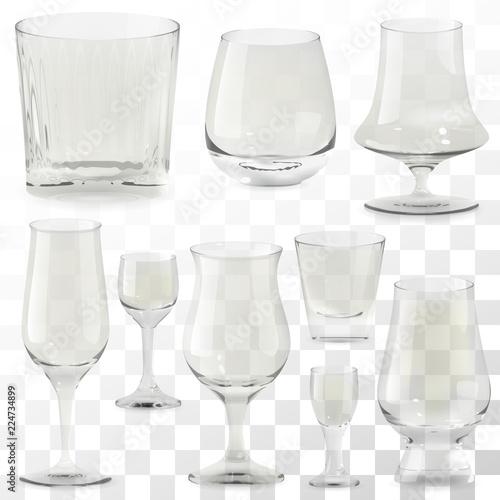 Obraz na plátne Set of vector realistic transparent whiskey glasses