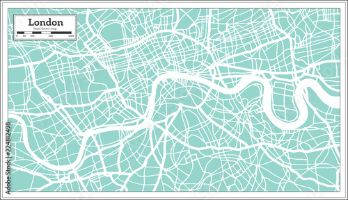 Fotografie, Obraz London England City Map in Retro Style. Outline Map.