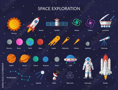 Big space set: planets, the sun, comet, meteorite, rocket, ufo, satellite, astronaut, black hole, shuttle, radar, the Big Dipper, telescope, nebula, galaxy, lunohod. Vector flat illustration.