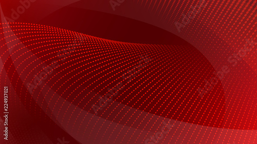 Fotografie, Tablou Abstract background of curved surfaces and halftone dots in red colors