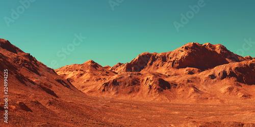 Fotografering Mars landscape, 3d render of imaginary mars planet terrain, science fiction illustration