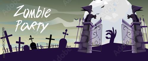 Obraz na płótnie Zombie Party lettering with graveyard gates, gargoyles and moon