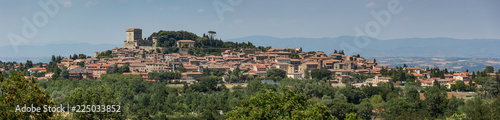 Fotografie, Tablou Panoramic view of the hilltop town of Sarteano in Tuscany, Italy