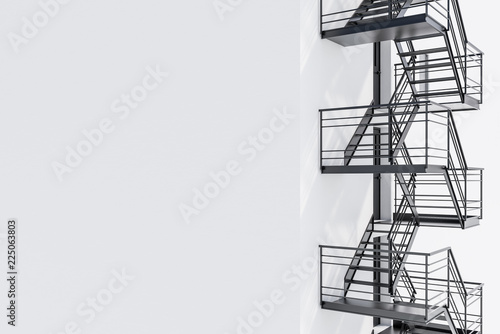 Wallpaper Mural Mock up building wall, black fire escape stairs